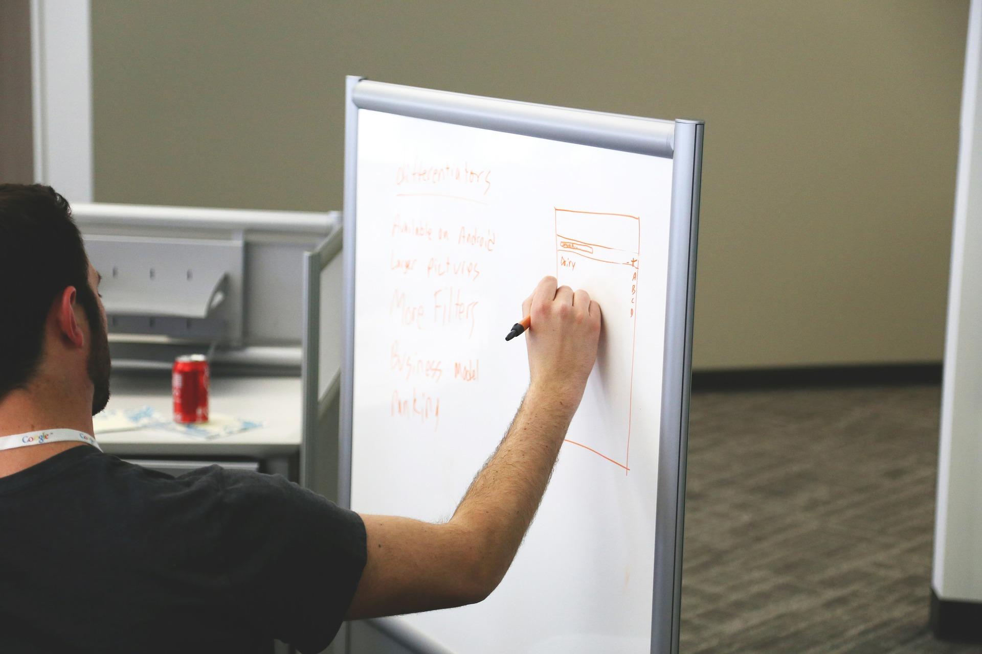 spisywanie pomysłów, celów i kroków rozwojowych na tablicy